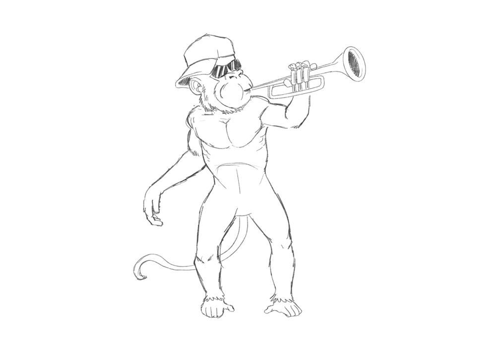 Brass Monkees Initial Sketch